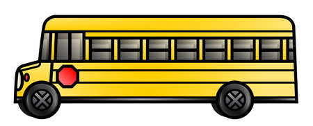 Illustration of a long cartoon school bus