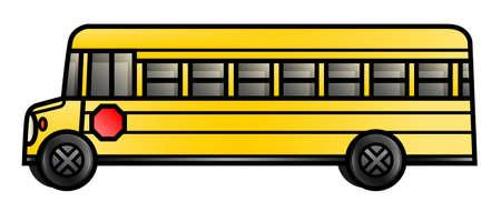 Illustration of a long cartoon school bus