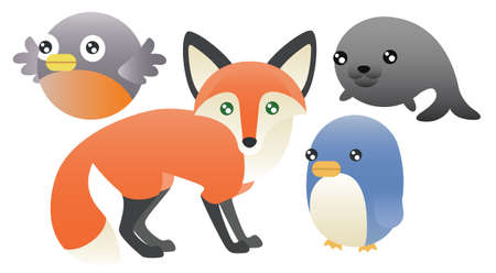 fox fur: A set of 5 cute abstract animals