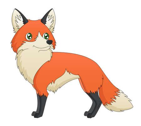 Una ilustración que representa un zorro rojo lindo de dibujos animados