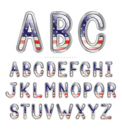 American flag font with a metallic border and reflection  Illustration