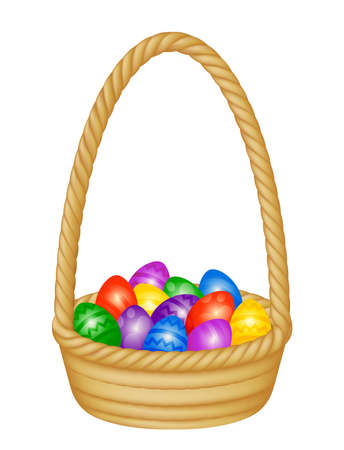 Illustration of a wicker Easter basket filled with decorated eggs