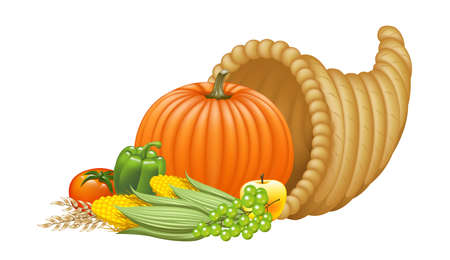 horn of plenty: Realistic Cornucopia Illustration