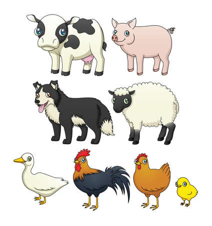 A set of eight cartoon farm animals Stok Fotoğraf - 17629226