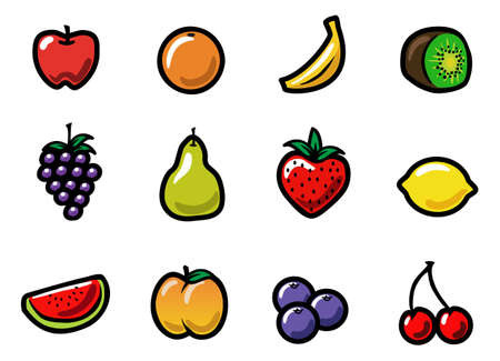 platano caricatura: Un conjunto de iconos fruta linda y colorida de dibujos animados