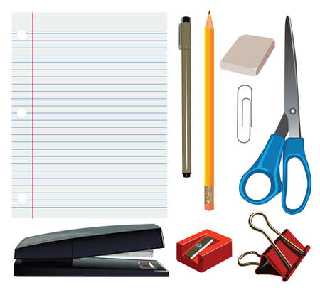 A set of realistic office and school supplies  Vector