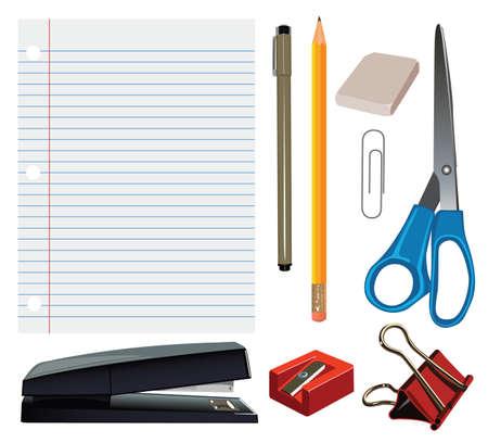 agrafeuse: Un ensemble de bureaux r�aliste et fournitures scolaires