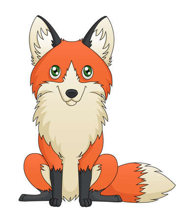 An illustration depicting a cute red fox cartoon sitting  Vector