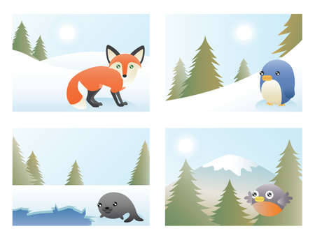 A set of 4 greeting card designs depicting a fox, penguin, seal and robin in various scenes   Vector