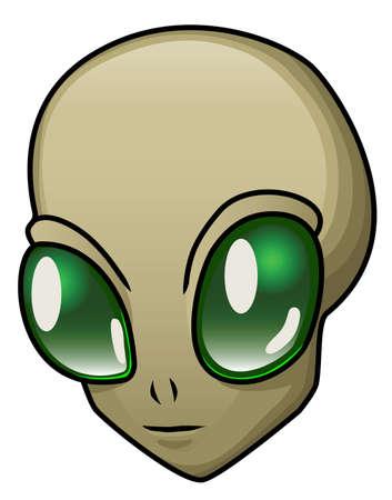 A cartoon alien head or halloween mask