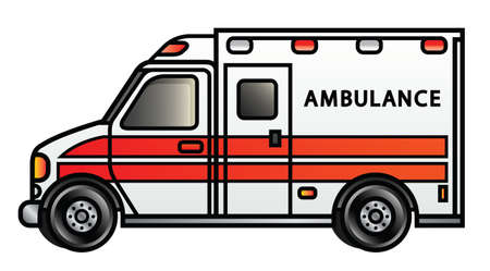 Illustration of a cartoon ambulance  Vector