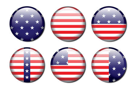 A set of 6 glossy american flag patterned buttons  Çizim