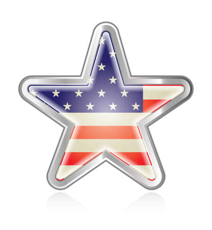 A star button or graphic with an american flag pattern