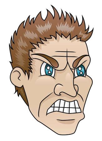 A man with an angry expression  Ilustração