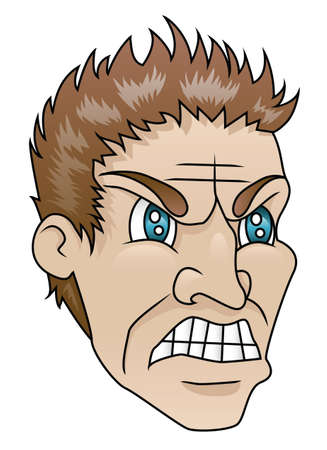 wrathful: A man with an angry expression  Illustration