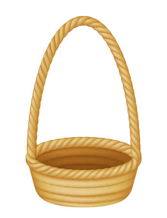 Illustration of an empty wicker picnic or Easter basket
