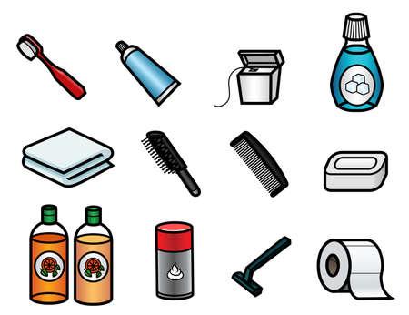 tejido: Un conjunto de 13 iconos relacionados con cuarto de baño lindo Vectores