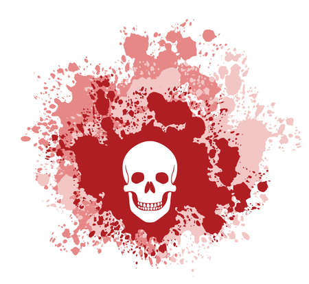 depicts: A four color vector grunge illustration  Depicts a human skull on a blood spatter backdrop