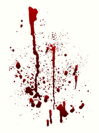 A blood spatter graphic on white