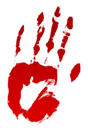 A vector bloody hand print on white