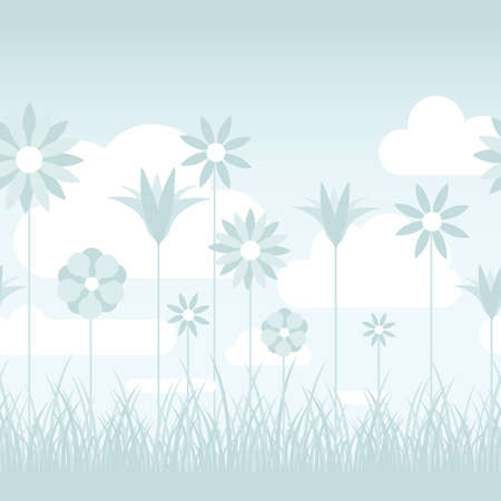grassy field: A soft blue illustration featuring flowers on stems in a grassy field  Seamlessly repeatable
