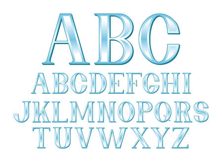 A font set of glassy blue letters in uppercase