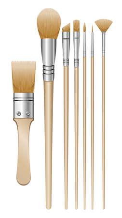 brush paint: A set of 7 paintbrush illustrations