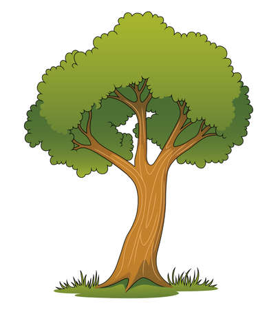 tall grass: Illustration of a cartoon tree on a patch of grass