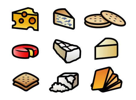 9 leuke en kleurrijke cartoon kaas en cracker illustraties Stock Illustratie