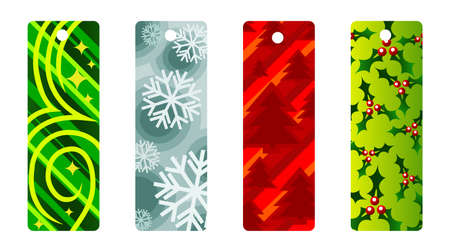 A set of four cute and trendy christmas tags or bookmarks  Vector