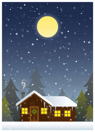 Christmas illustration depicting a cabin in the woods during a blizzard