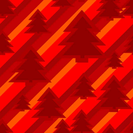 A seamless christmas background featuring red pine trees on a red striped background Stock Vector - 18203893