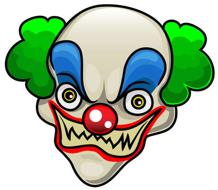 A very detailed cartoon halloween clown head or mask Illustration
