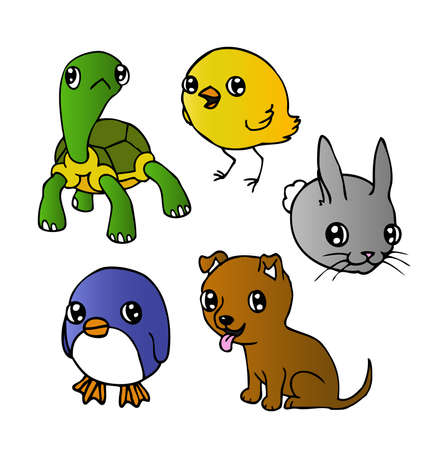 An ink illustration of a cute cartoony puppy, tortoise, penguin, chick and rabbit  Vector