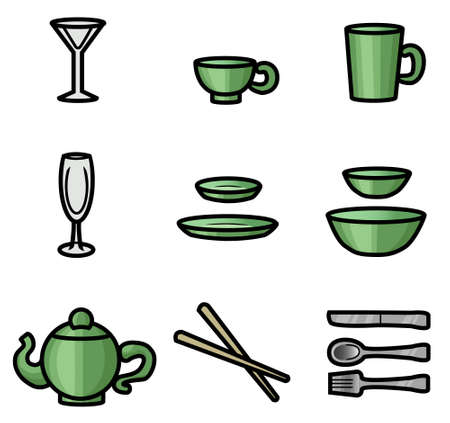 13 皿、グラス、食事をしながらの道具のイラスト