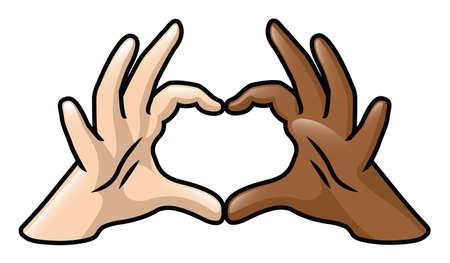 interracial: Una ilustraci�n que representa dos manos de dibujos animados de colores de piel diferentes que forman un coraz�n