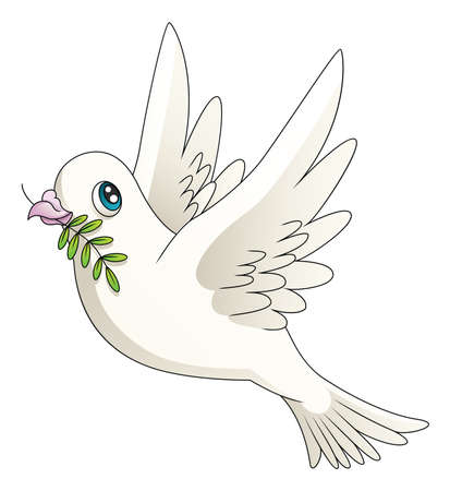 Illustration of a cartoon dove with an olive branch