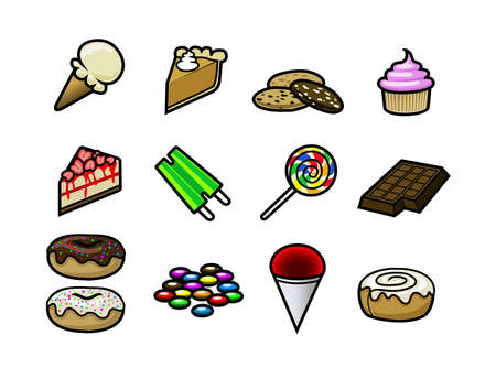 A set of 15 cute and colorful dessert and candy icons