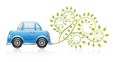 activism: Una ilustraci�n limpio y brillante que muestra un concepto de coche ecol�gico