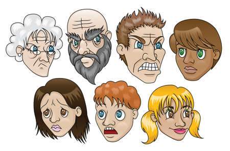 furrow: 7 illustrations depicting people with various facial expressions  Illustration