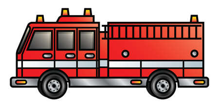 Illustration of a cartoon fire engine  Vector