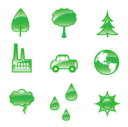 A set of eighteen glossy environmental activism related graphics  Ilustrace