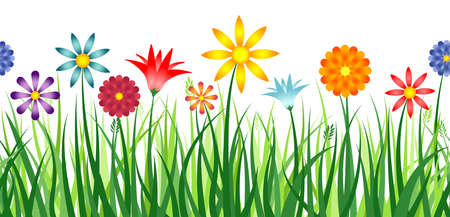 A colorful border depicting flowers in a field of grass  Horizontally repeatable