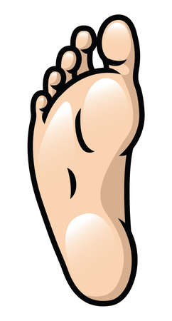 underneath: Illustration of a cartoon foot sole  Illustration