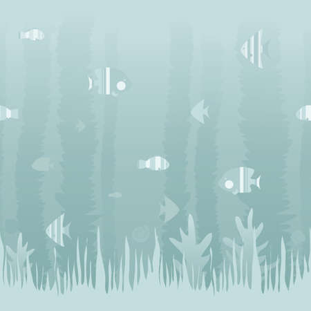 A soft blue illustration featuring assorted ocean fish and underwater plants  Seamlessly repeatable  Çizim