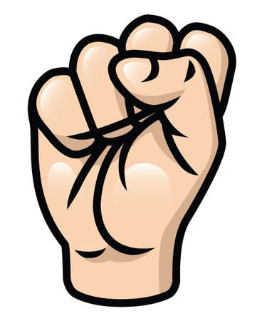 tense: Illustration of a cartoon fist  raised upwards