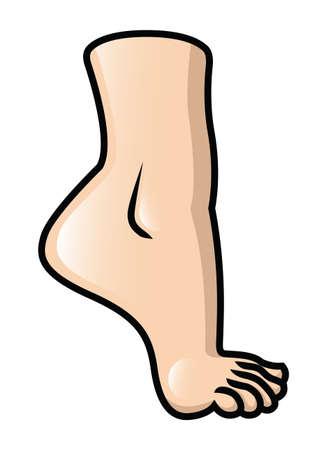 Illustration of a raised cartoon foot