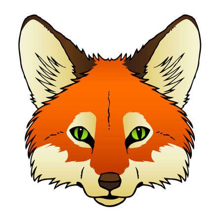 Een hand getrokken van het gezicht van een rode vos s