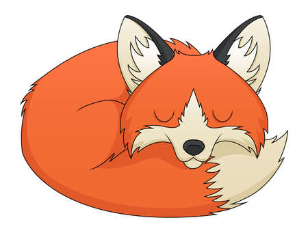 canid: An illustration depicting a sleeping cute red fox cartoon