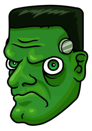 A cartoon halloween frankenstein monster head or mask